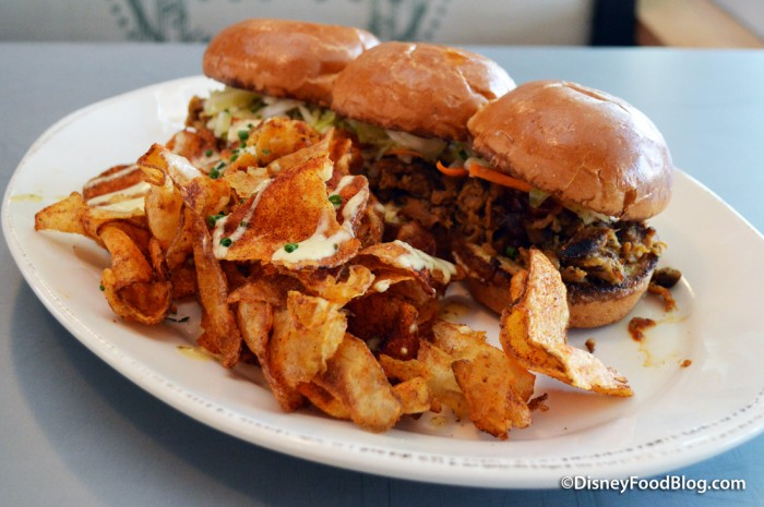Chopped Pork Barbecue Sandwich and Homemade BBQ Potato Chips