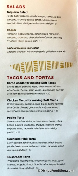 Salads and Tacos and Tortas menu