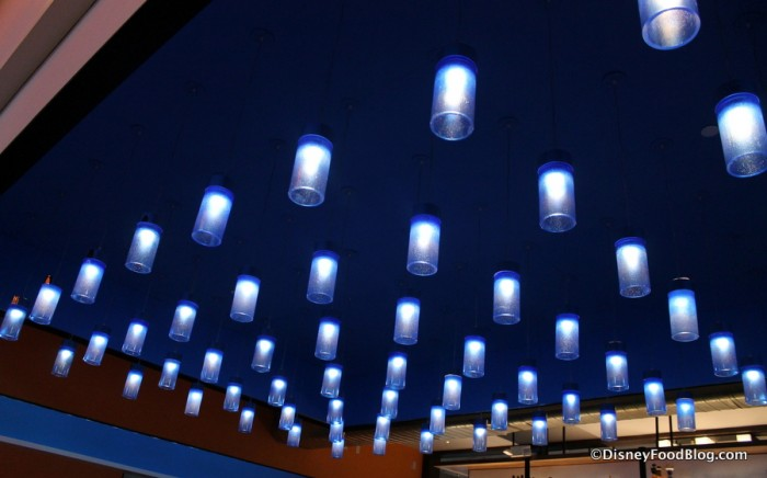 Lighting over the middle dining area