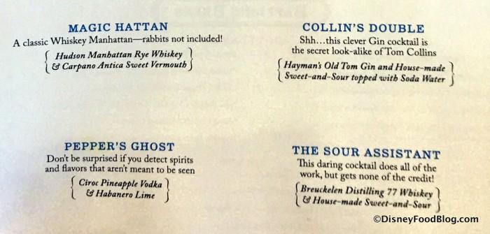 Curious Cocktails menu closeup