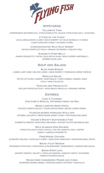 Flying Fish Menu -- click to enlarge