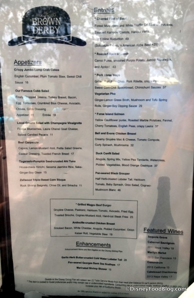 Hollywood Brown Derby Lunch Menu
