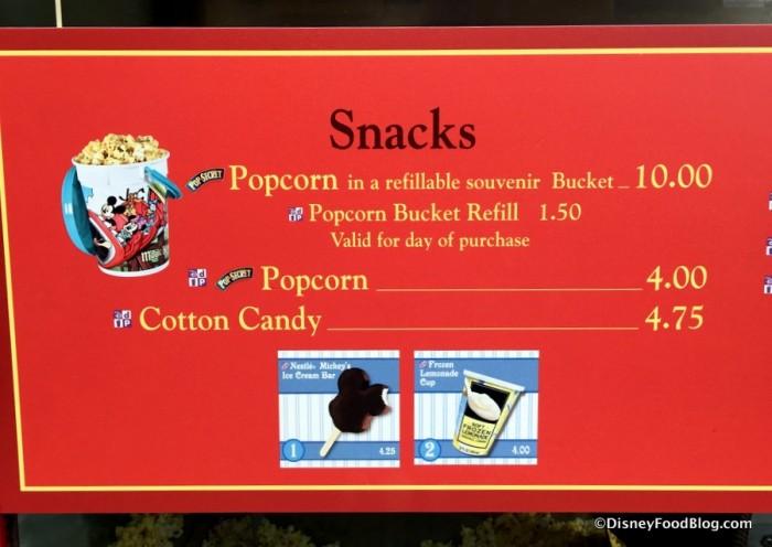 Refillable Popcorn Bucket Pricing