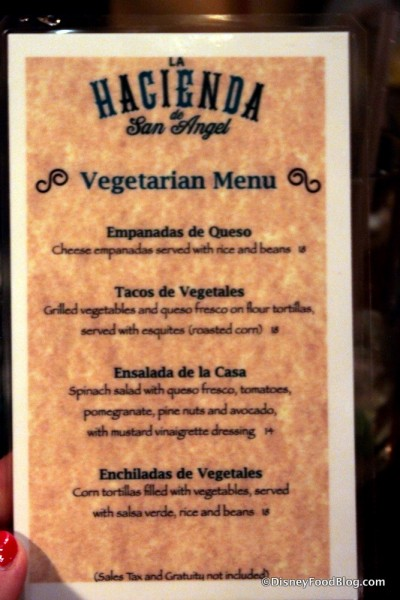 Vegetarian Menu -- Click to Enlarge