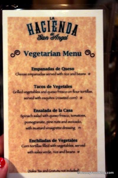 Vegetarian Menu -- Click to Enlarge