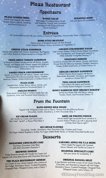 The Plaza Menu