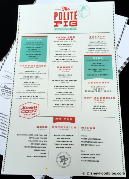 Preliminary Menu for The Polite Pig -- Click to Enlarge