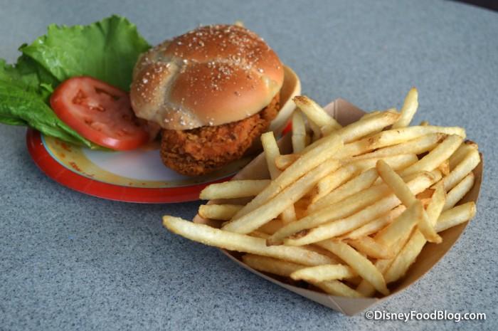 Spicy Chicken Sandwich and fries