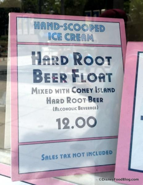 Hard Root Beer Float sign
