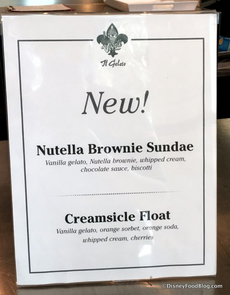 New items on the Menu at Vivoli il Gelato