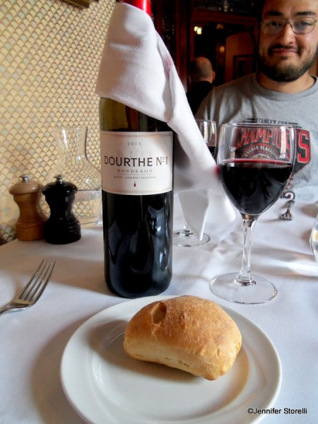 Bordeaux AOC Dourthe No. 1 and a fresh French roll