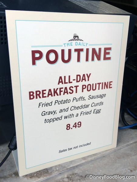 All-Day Breakfast Poutine sign