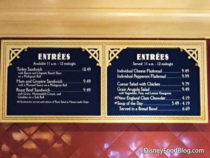 Beach Club Marketplace menu