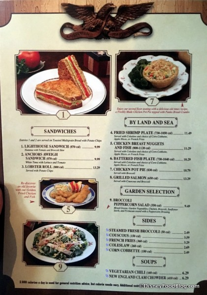 Columbia Harbour House Menu