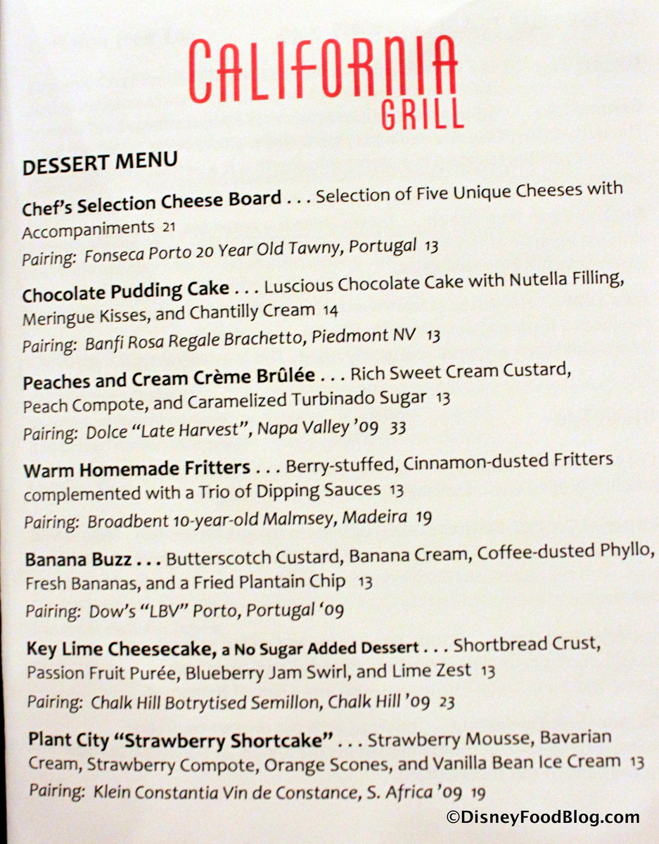 Review california grill at disneys contemporary resort the dessert menu click to enlarge fandeluxe Image collections