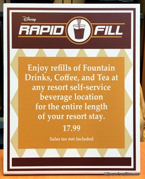 Refillable Resort Mug Purchase Sign