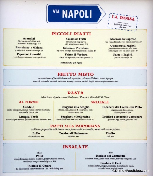 Via Napoli Menu