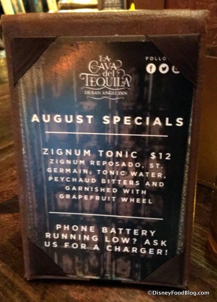 August Specials sign