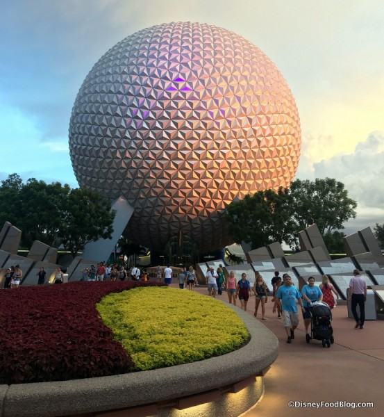 Epcot Spaceship Earth sunset