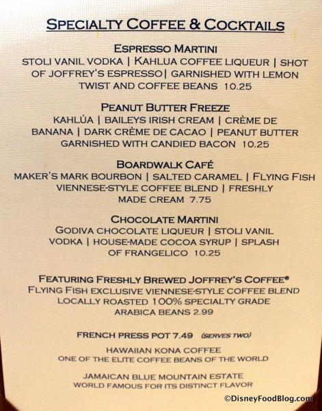Menu -- Desserts Drinks -- Click to Enlarge