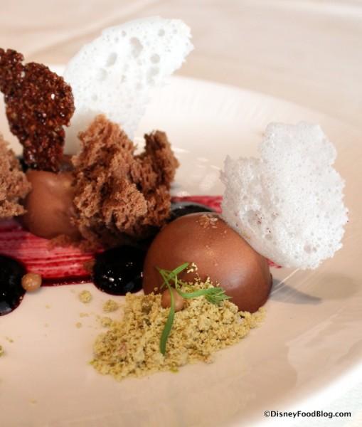 Under the Sea Chocolate Dessert -- Close Up of Foam and Pistachio Dust