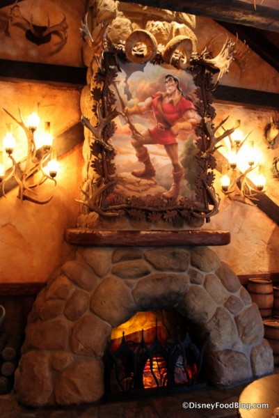 Gaston's Portrait and Fireplace
