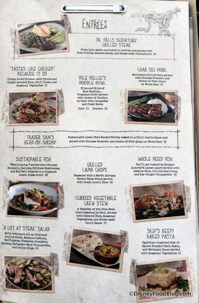 Jungle Skipper Canteen Menu