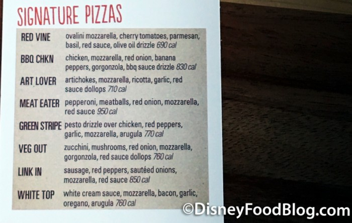 Signature Pizza Menu