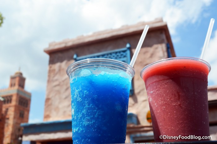 Royal Blue slushie and Mixed Berries Delight smoothies