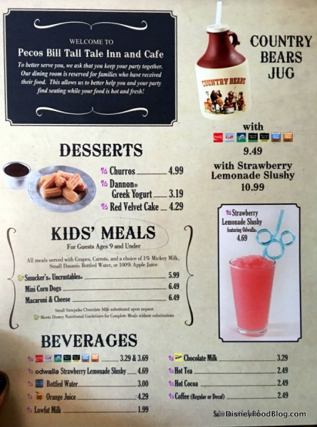 Pecos Bill Tall Tale Inn and Cafe Menu