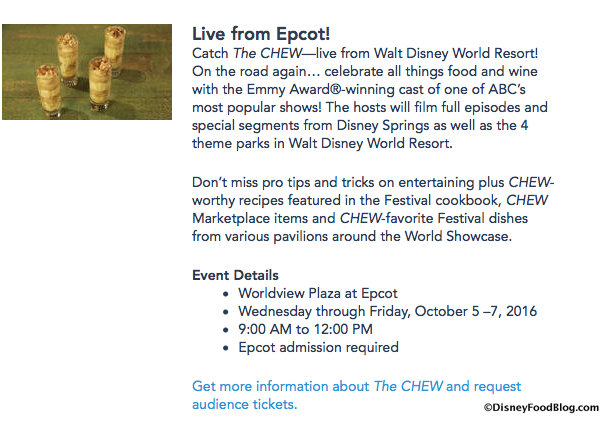 Taping information via the Disney World Food & Wine Festival site