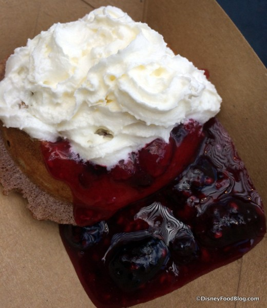 Belgian Waffle with Berry Compote and Whipped Cream