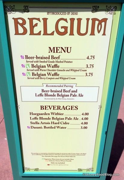 Belgium Menu