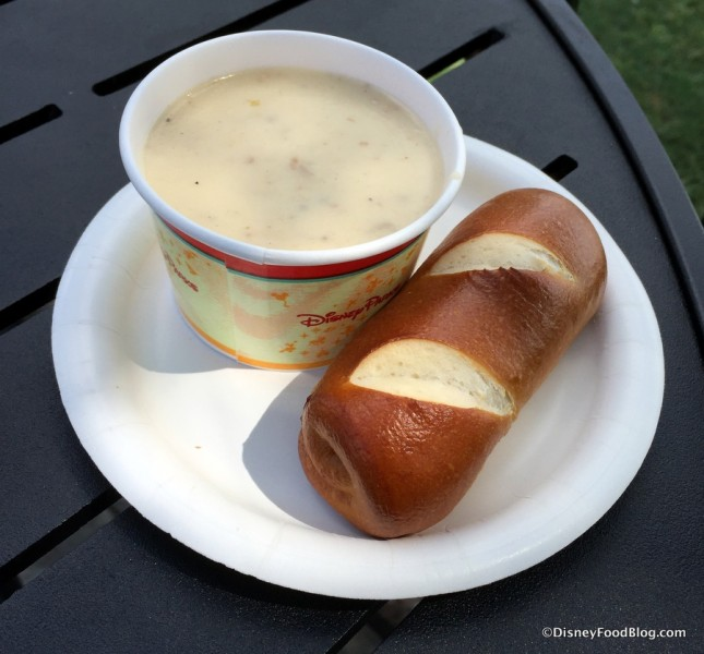 Canadian Cheddar Cheese Soup with Pretzel Roll