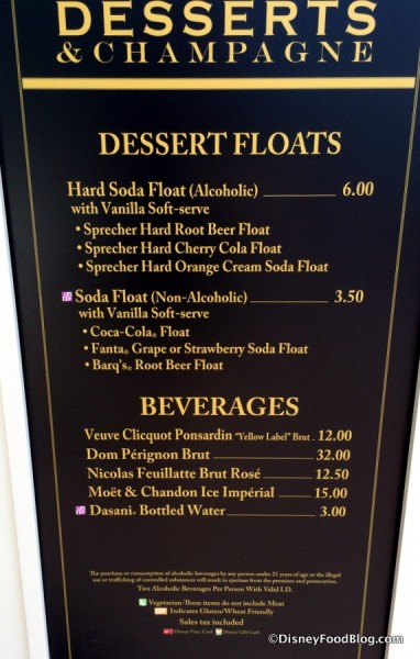 Desserts and Champagne Menu
