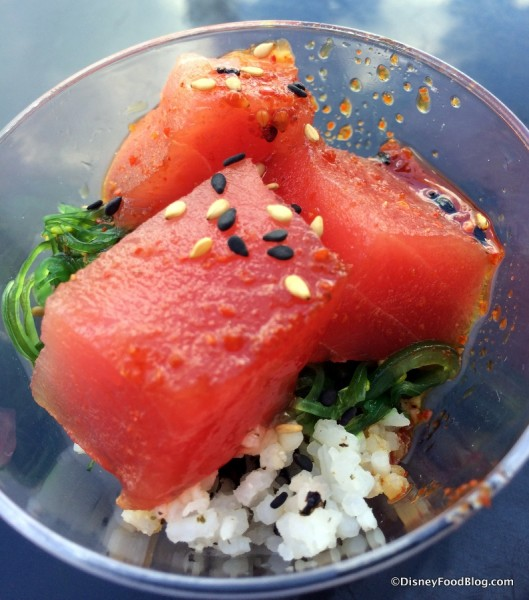 Spicy Tuna Poke with Seaweed Salad and Nori Rice