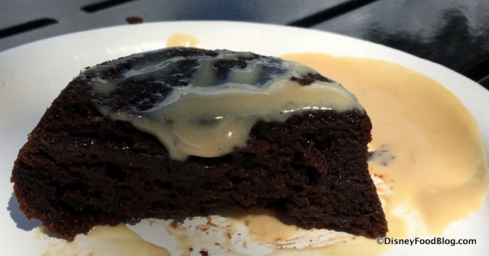 Warm Chocolate Pudding with Irish Cream Liqueur Custard cross-section