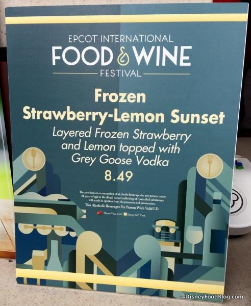 Frozen Strawberry-Lemonade Sunset sign