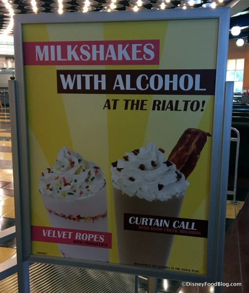 Milkshakes with Alcohol sign