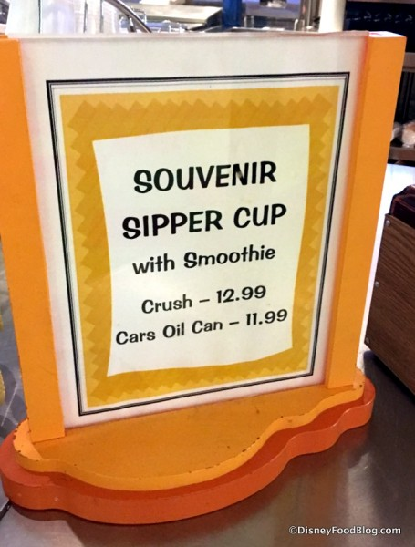Souvenir Sipper Cups sign