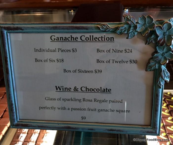 Ganache and Wine & Chocolate sign at The Ganachery