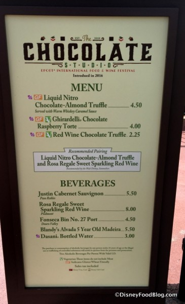 Chocolate Studio Menu