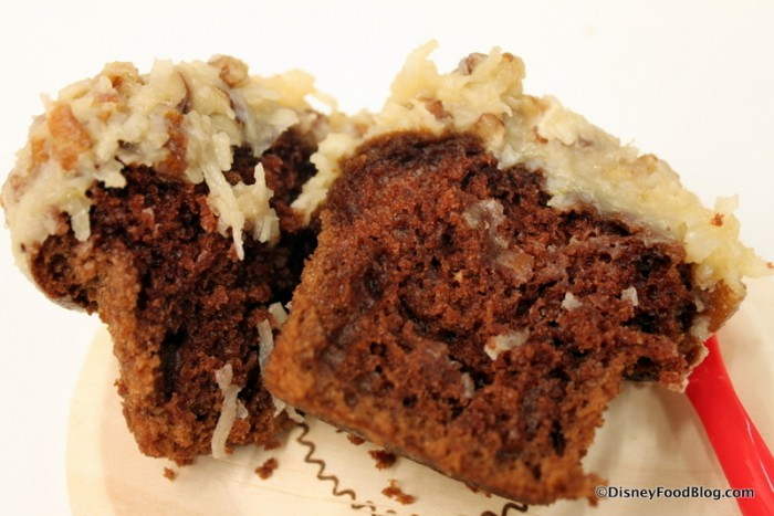 German Chocolate Cupcake -- Cross Section
