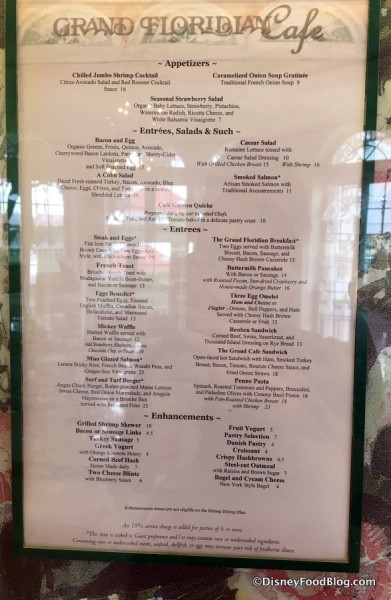 Grand Floridian Cafe Breakfast and Dinner Menu
