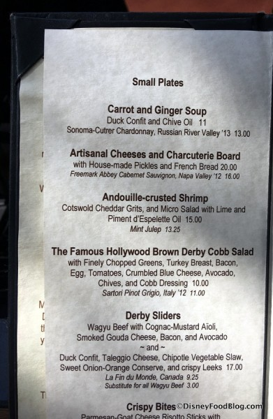 Small Plates Menu at Brown Derby Lounge (Partial)