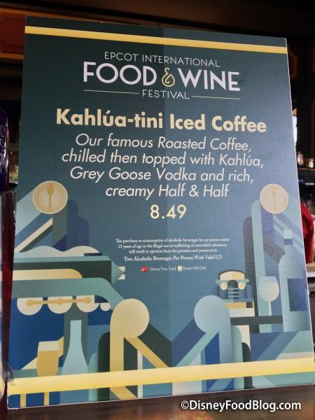 Kahlua-tini Iced Coffee sign