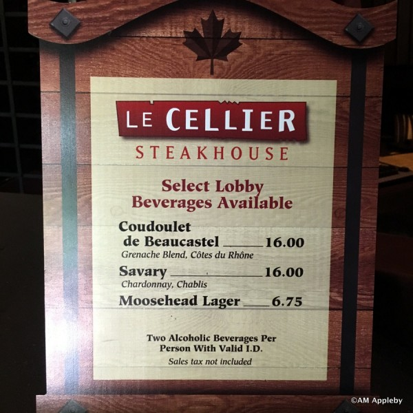 Le Cellier Lobby Beverages Menu