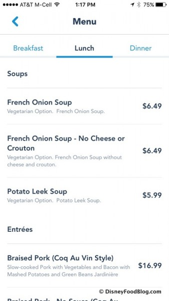 Check Out Menus From Anywhere Via the My Disney Experience App