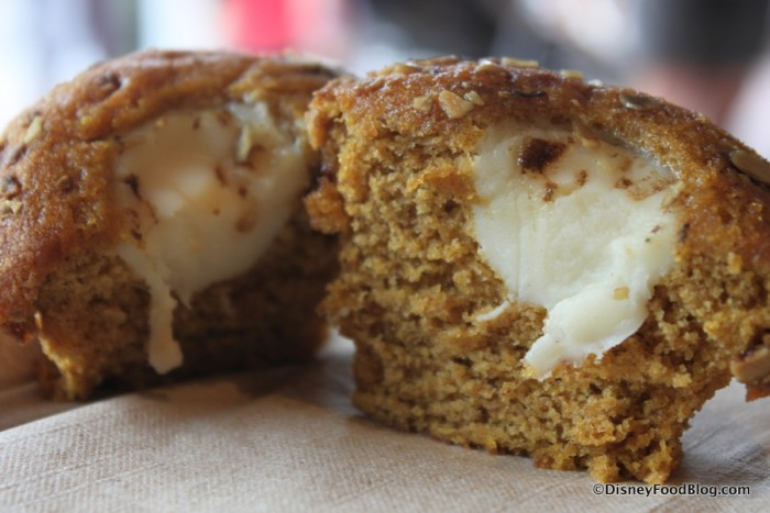 Inside the Pumpkin Cream Cheese Muffin