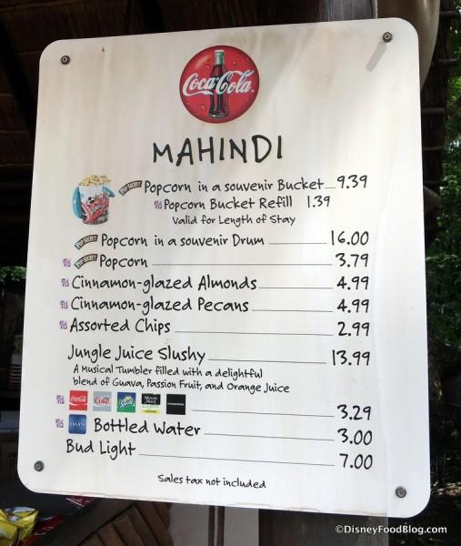 Mahindi Popcorn Menu